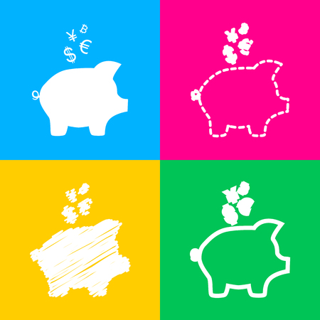 Piggy bank sign with the currencies. Four styles of icon on four color squares. Illustration