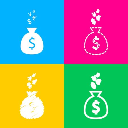 Money bag sign with currency symbols. Four styles of icon on four color squares.