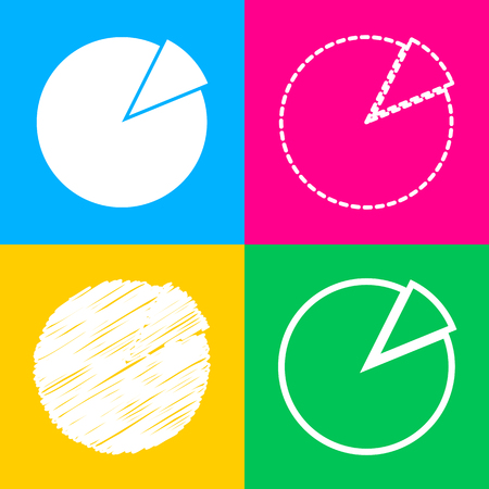 Finance graph sign. Four styles of icon on four color squares.