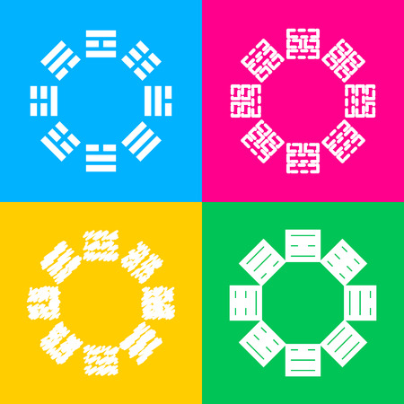 taiji: Bagua sign. Four styles of icon on four color squares.