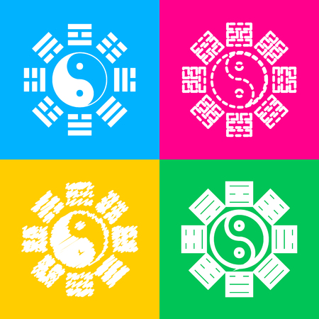 taijitu: Yin and yang sign with bagua arrangement. Four styles of icon on four color squares.