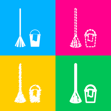 Broom and bucket sign. Four styles of icon on four color squares. Illustration