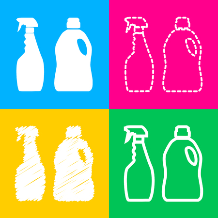 Household chemical bottles sign. Four styles of icon on four color squares.