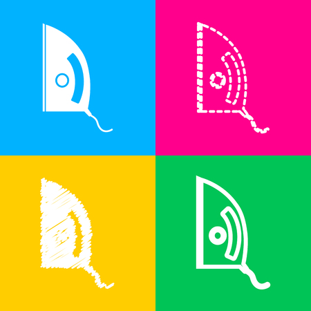 Iron sign. Four styles of icon on four color squares.
