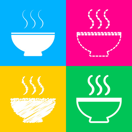 gastro: Soup sign. Four styles of icon on four color squares.