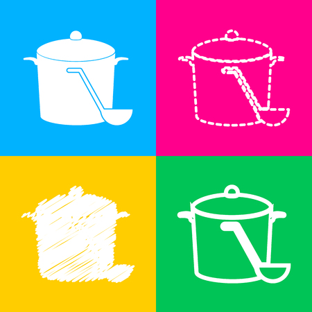 Pan with steam sign. Four styles of icon on four color squares. Illustration