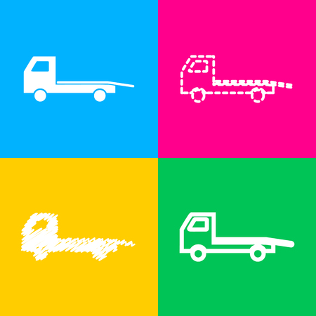 the wrecker: Service of evacuation sign. Wrecking car side. Car evacuator. Vehicle towing. Four styles of icon on four color squares.