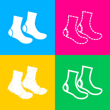 Socks sign. Four styles of icon on four color squares.