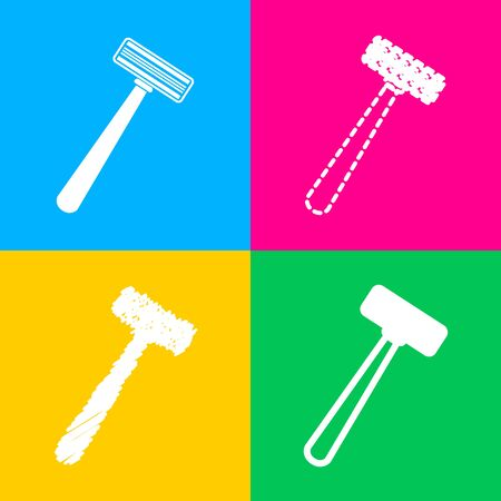 Safety razor sign. Four styles of icon on four color squares. Illustration