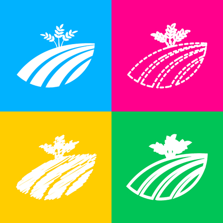 Wheat field sign. Four styles of icon on four color squares.