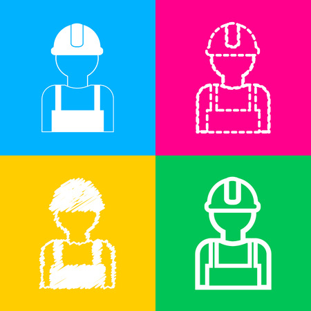civil construction: Worker sign. Four styles of icon on four color squares.