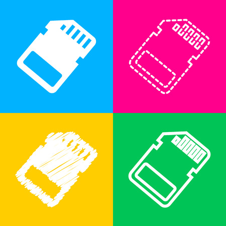 Memory card sign. Four styles of icon on four color squares.