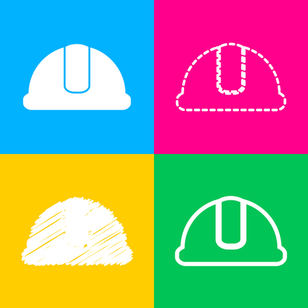 Hardhat sign. Four styles of icon on four color squares. Illustration