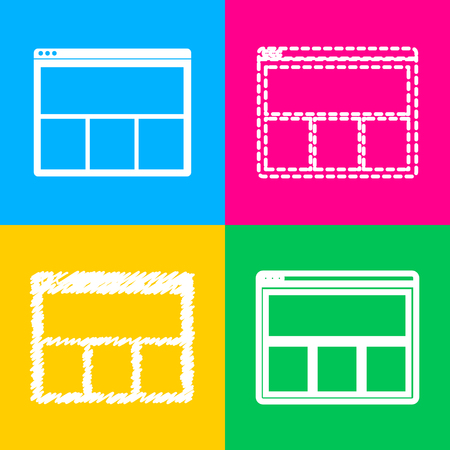 icons site search: Web window sign. Four styles of icon on four color squares.