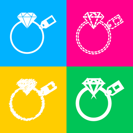 Diamond sign with tag. Four styles of icon on four color squares.