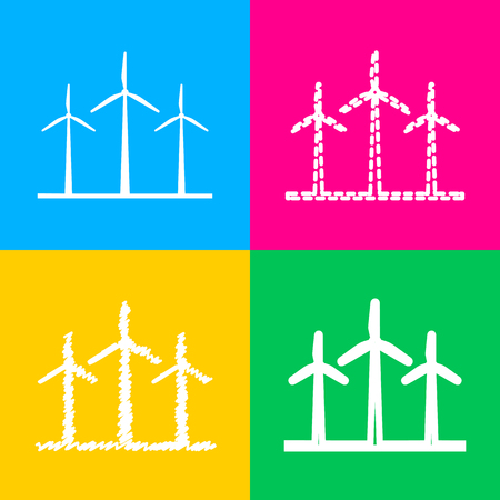 Wind turbines sign. Four styles of icon on four color squares.