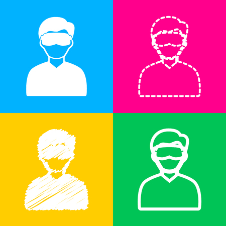 Man with sleeping mask sign. Four styles of icon on four color squares.