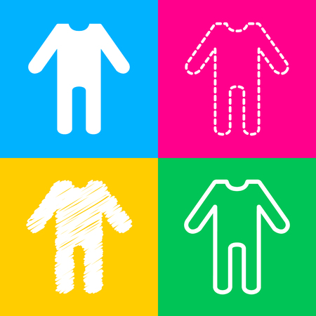 Baby clothes sign. Four styles of icon on four color squares. Illustration