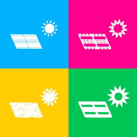 Colorful Solar energy panel. Eco trend concept sign. Four styles of icon on four color squares.