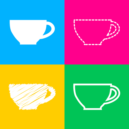 Cup sign. Four styles of icon on four color squares. Illustration