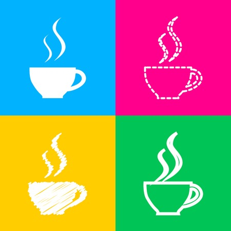 Colorful Cup of coffee sign. Four styles of icon on four color squares.