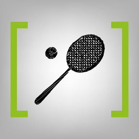 Tennis racquet sign. Vector. Black scribble icon in citron brackets on grayish background.