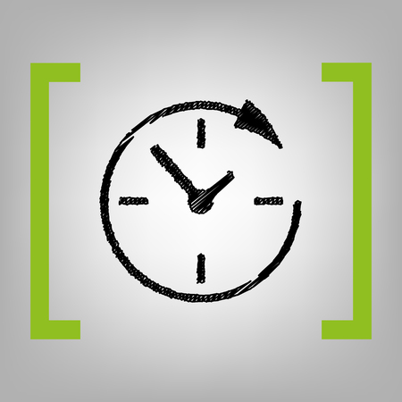telemarketer: Service and support for customers around the clock and 24 hours. Vector. Black scribble icon in citron brackets on grayish background. Illustration