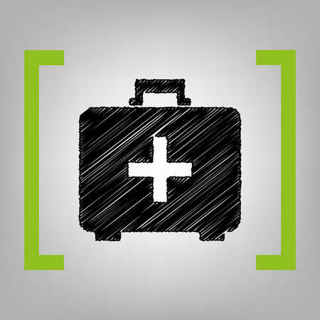 brackets: Medical First aid box sign. Vector. Black scribble icon in citron brackets on grayish background. Illustration