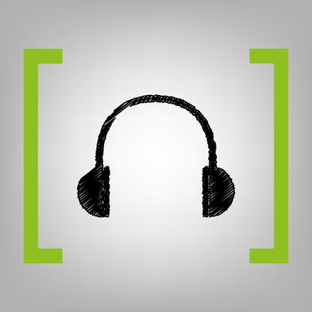 brackets: Headphones sign illustration. Vector. Black scribble icon in citron brackets on grayish background. Illustration