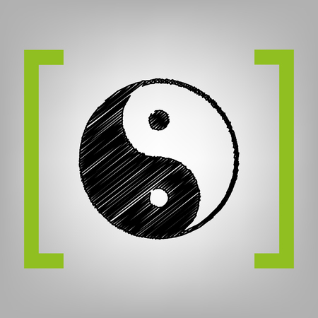 Ying yang symbol of harmony and balance. Vector. Black scribble icon in citron brackets on grayish background. Illustration