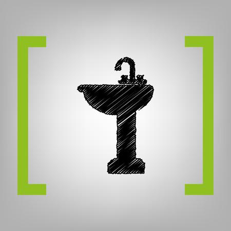 Bathroom sink sign. Vector. Black scribble icon in citron brackets on grayish background. Stock Vector - 75002370