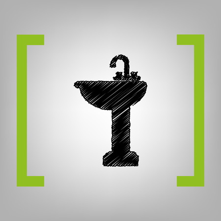 Bathroom sink sign. Vector. Black scribble icon in citron brackets on grayish background. Illustration