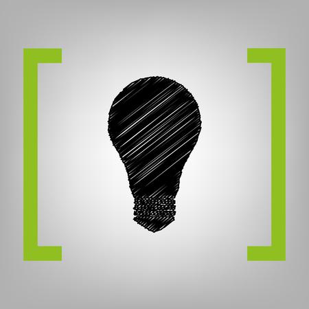 brackets: Light lamp sign. Vector. Black scribble icon in citron brackets on grayish background.