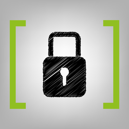 brackets: Lock sign illustration. Vector. Black scribble icon in citron brackets on grayish background. Illustration
