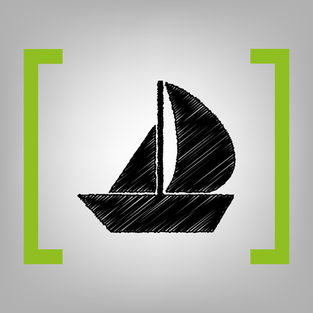 Sail Boat sign. Vector. Black scribble icon in citron brackets on grayish background.