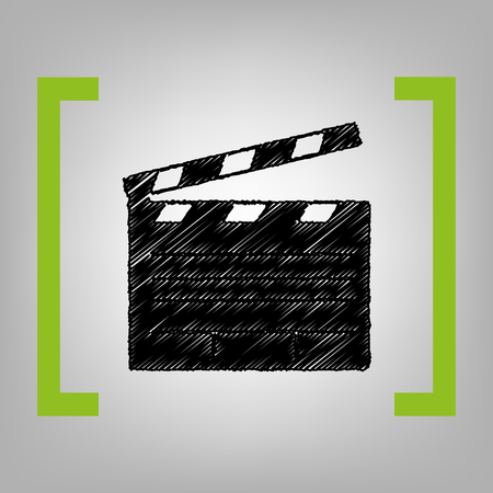 Film clap board cinema sign. Vector. Black scribble icon in citron brackets on grayish background. Çizim