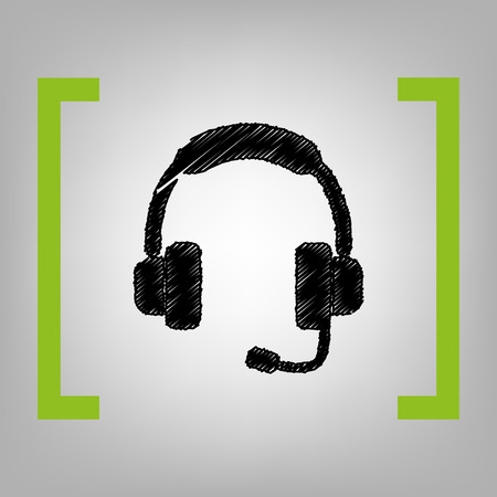 telemarketer: Support sign illustration. Vector. Black scribble icon in citron brackets on grayish background.