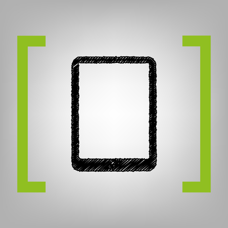 note pad: Computer tablet sign. Vector. Black scribble icon in citron brackets on grayish background. Illustration