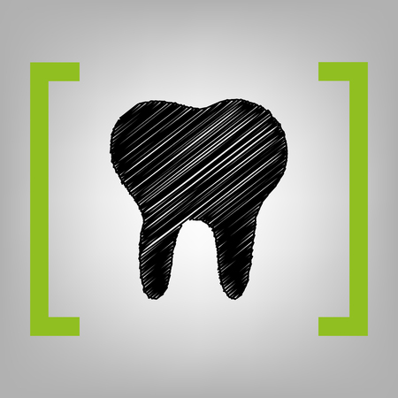 Tooth sign illustration. Vector. Black scribble icon in citron brackets on grayish background. Illustration
