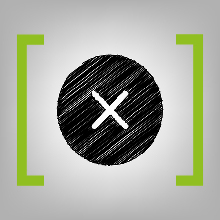 incorrect: Cross sign illustration. Vector. Black scribble icon in citron brackets on grayish background.