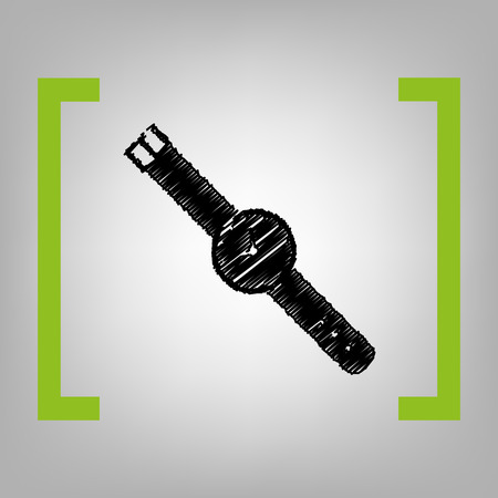 Watch sign illustration. Vector. Black scribble icon in citron brackets on grayish background.