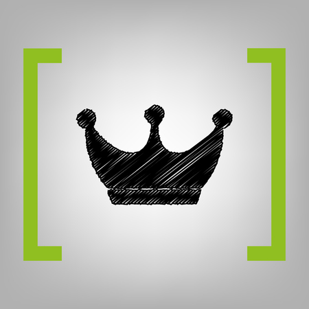 King crown sign. Vector. Black scribble icon in citron brackets on grayish background. Illustration