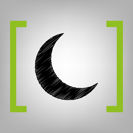 Moon sign illustration. Vector. Black scribble icon in citron brackets on grayish background.