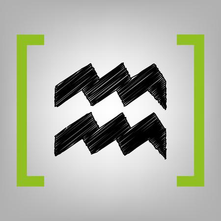 ecliptic: Aquarius sign illustration. Vector. Black scribble icon in citron brackets on grayish background.