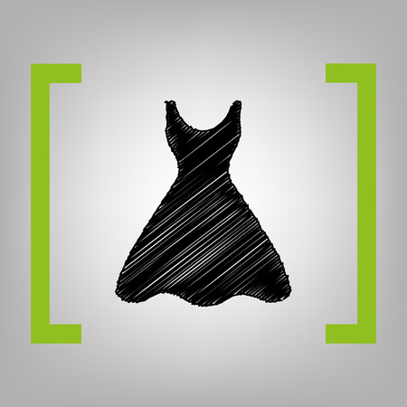 Woman dress sign. Vector. Black scribble icon in citron brackets on grayish background. Illustration