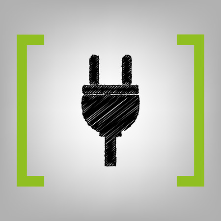 Socket sign illustration. Vector. Black scribble icon in citron brackets on grayish background.