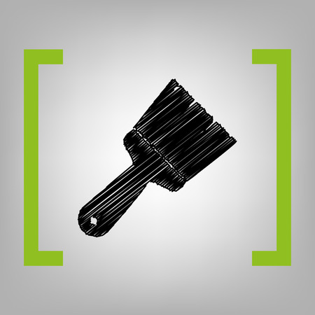 Brush sign illustration. Vector. Black scribble icon in citron brackets on grayish background.