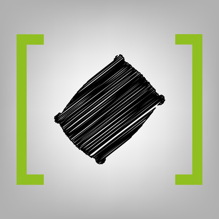 spongy: Pillow sign illustration. Vector. Black scribble icon in citron brackets on grayish background.
