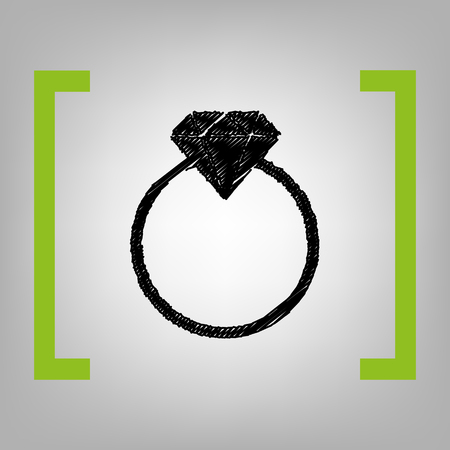 Diamond sign illustration. Vector. Black scribble icon in citron brackets on grayish background.