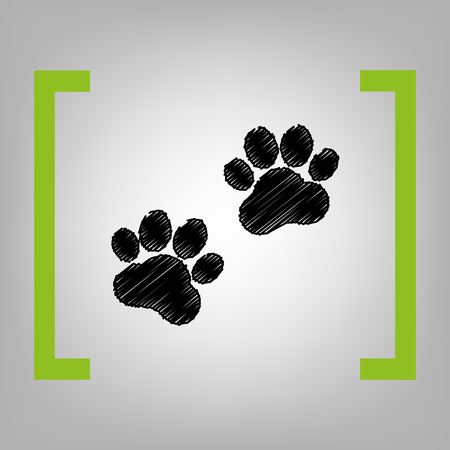 ful: Animal Tracks sign. Vector. Black scribble icon in citron brackets on grayish background.